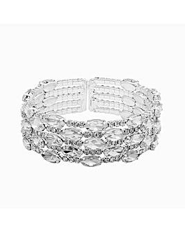 Silver Plated Diamante Multi Row Cuff Bracelet
