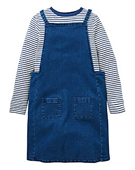 KD Girls Denim Pinafore and Top Set
