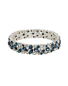 Silver Plated Blue Crystal Stretch Bracelet