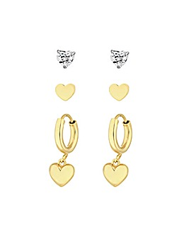 12ct Yellow Gold Sterling Silver 925 Hearts Earrings - Pack of 3