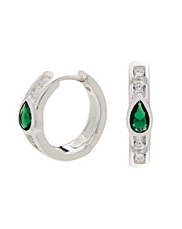 Sterling Silver 925 Cubic Zirconia Emerald Green Detail Mini Hoop