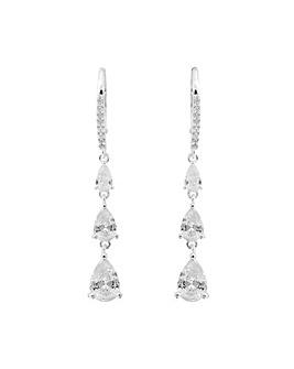 Simply Silver Triple Pear Drop Earrings