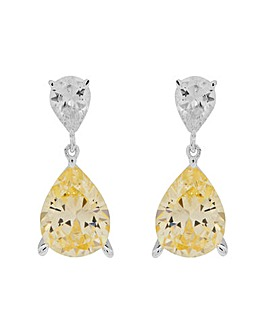 Sterling Silver 925 Cubic Zirconia Canary Yellow Pear Drop Earrings