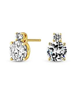 12ct Gold Sterling Silver 925 Cubic Zirconia Stud Earrings