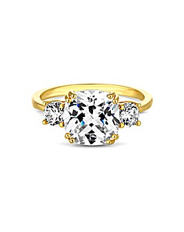 12ct Gold Sterling Silver 925 Triple Round Ring