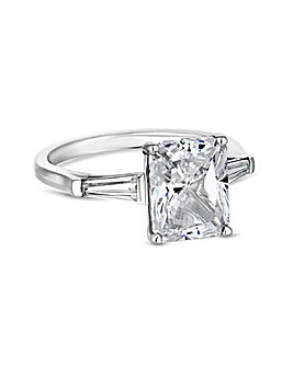 Sterling Silver 925 Emerald Cut Tri-Stone Ring
