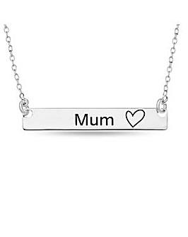 Sterling Silver Bar Mum Heart Necklet