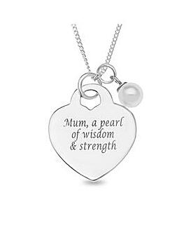 Sterling Silver Pearl Mum Pendant
