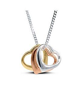 Sterling Silver 3 Colour Heart Pendant