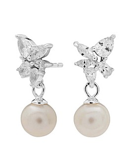 Simply Silver Pearl Floral Earrings