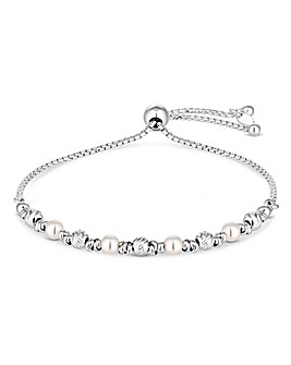 Sterling Silver 925 Pearl Diamond Cut Toggle Bracelet