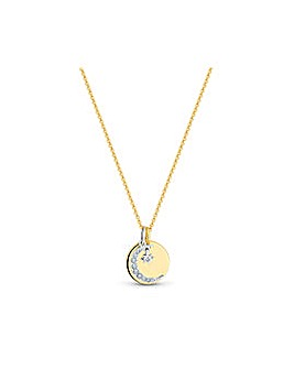 12ct Gold Celestial Disc Necklace
