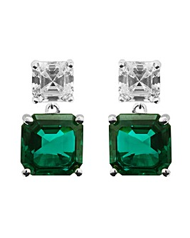 Simply Silver Emerald Drop Earrings
