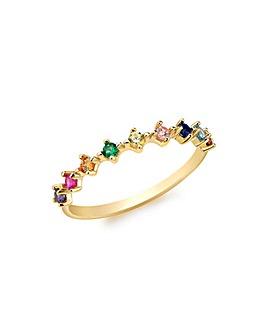 9 Carat Gold Multi-Colour CZ Ring