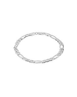 Sterling Silver Figaro Rambo Bracelet