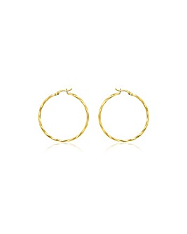 9 Carat Gold Faceted Creole Earrings