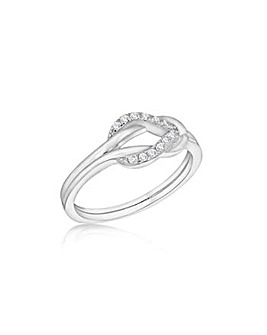 Sterling Silver CZ Linked Loops Ring