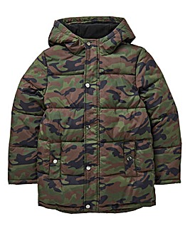 KD Boys Camo Fleece Lined Padded Jacket