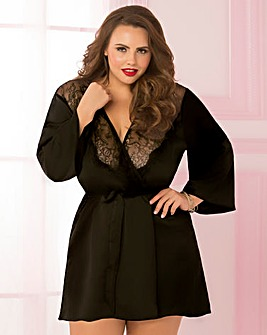 Seven Til Midnight Toast of The Town Satin & Eyelash Lace Black Robe
