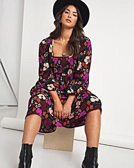 Emma Mattinson Floral Print Square Neck Shirred Waffle Tiered Midi Dress