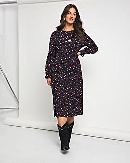 Emma Mattinson Lip Print Long Sleeve Tiered Waffle Midi Dress