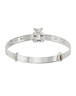 Silver Sliding Teddy Expander Bangle