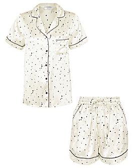 Accessorize Star Print Satin Pyjama Set