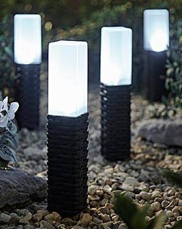 Set of 4 Rattan Style Solar Stake Lights