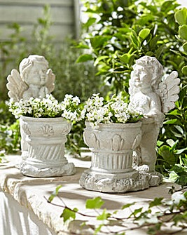 Set of 2 Cherub Planters
