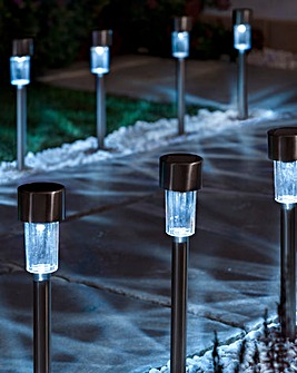 Pack of 10 Stainless Steel Solar Lights