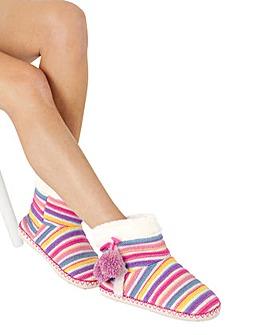 Stripe Knit Slipper Boots