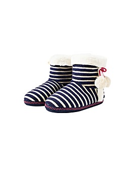 Nautical Stripe Knitted Slipper Boots