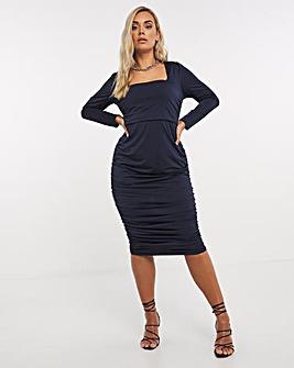 Navy Slinky Square Neck Ruched Midi Bodycon Dress