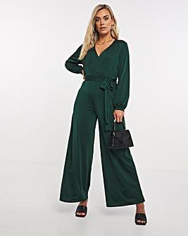 Emerald Green Slinky Wrap Tie Front Wide Leg Jumpsuit
