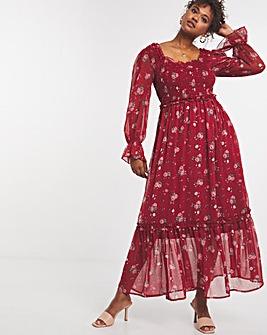 Floral Sweetheart Tiered Chiffon Long Sleeve Maxi Dress