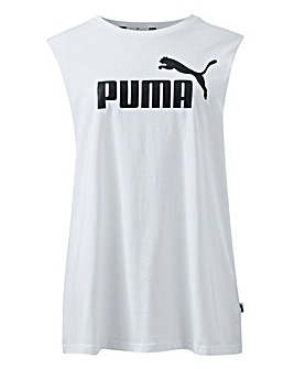 Puma Ladies White Essential Cut Off Tank