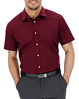 Wine Short Sleeve Formal Shirt Regular