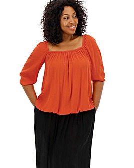 Deep Orange Crinkle Square Neck Puff Sleeve Top