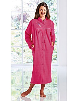 Round Yoked Embroidered Housecoat