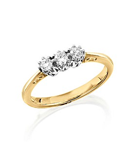 9 Carat Gold 1/4ct Diamond Trilogy Ring