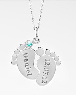 Sterling Silver Personalised Baby Feet Pendant
