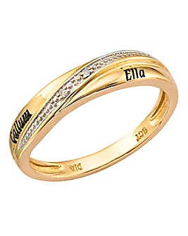 Precious Sentiments 9 Carat Gold Personalised Ladies Wedding Band