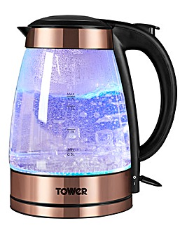 Tower Rose Gold Glass Kettle
