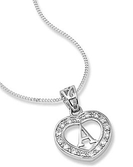 Sterling Silver & Cubic Zirconia Initial Heart Pendant