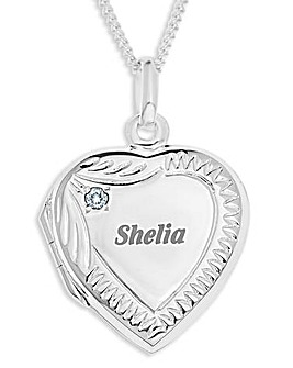 Silver Cubic Zirconia Birthstone Locket