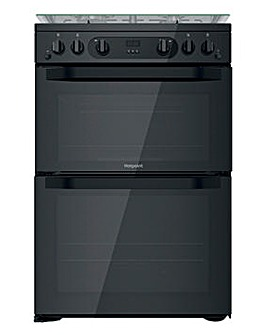 Hotpoint HDM67G0CCB/UK Gas Double Cooker - Black