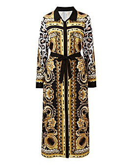 Joanna Hope Black Chain Print Midi Dress