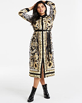 Joanna Hope Black Chain Print Midi Dress