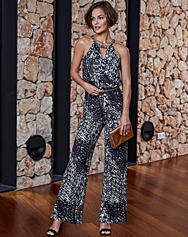 Joanna Hope Animal Print Jersey Jumpsuit