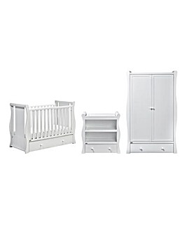 East Coast Nebraska 3 Piece Roomset (Mini Cotbed with Drawer, Dresser, Wardrobe)